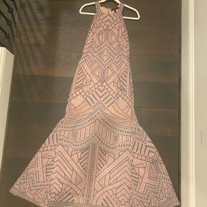 Felicia Geometric Burnout Print Gown